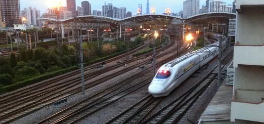 Shanghai Railway Station - train exiting