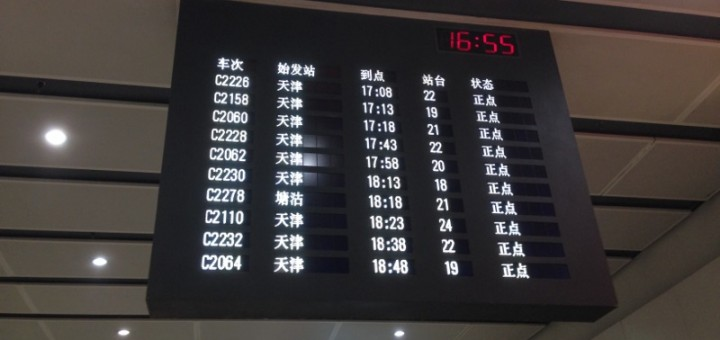 Arrival Boards at Beijing South